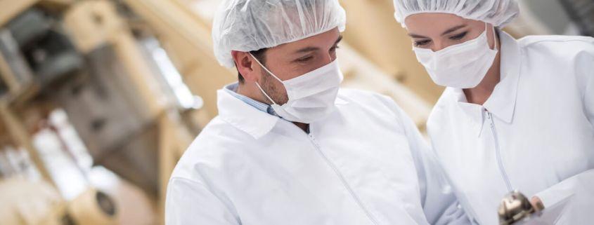 Inspectors at a food factory