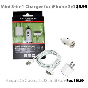 Mini 3-in-1 Charger for iPhone 3 and 4 models for $5.99