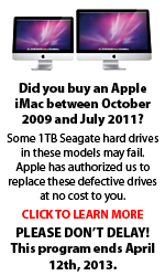 Apple iMac 1TB Seagate Hard Drive Replacement Program