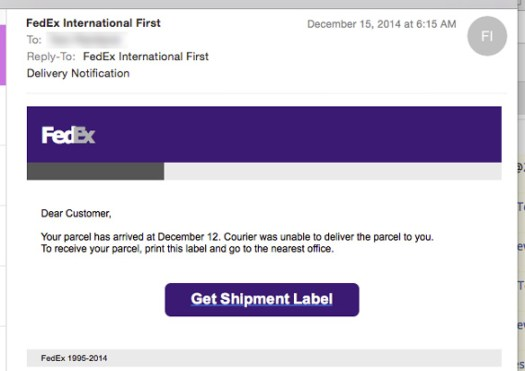 Fake FedEx delivery failure notice