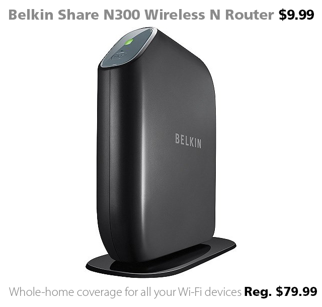 Belkin Share N300 Wireless N Router on sale at Connecting Point for $9.99 (reg. $79.99)