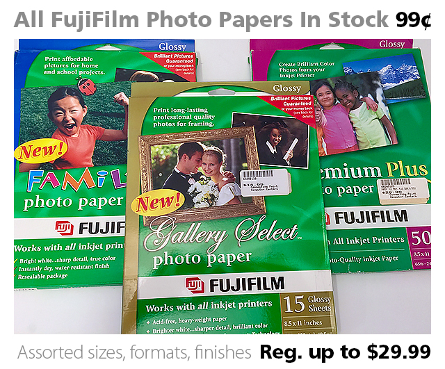 All FujiFilm Photo Papers In Stock 99¢