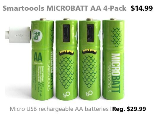 DOTW Smartoools MICROBATT AA 4-pack $14.99 (reg. $29.99)