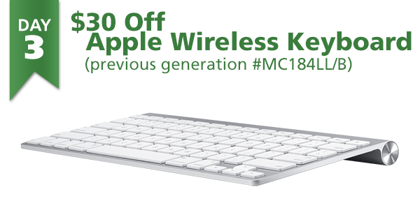 12 Days of Savings | DAY 3 (Tues., Dec 15th): $30 Off Apple Wireless Keyboard