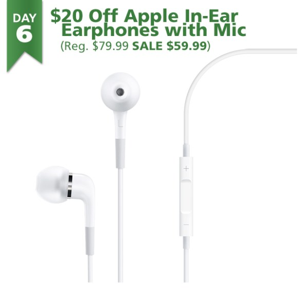 Apple In-Ear Earphones on sale for $59.99