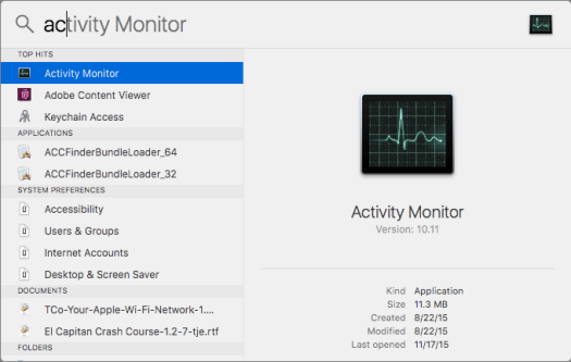 Activity Monitor detail