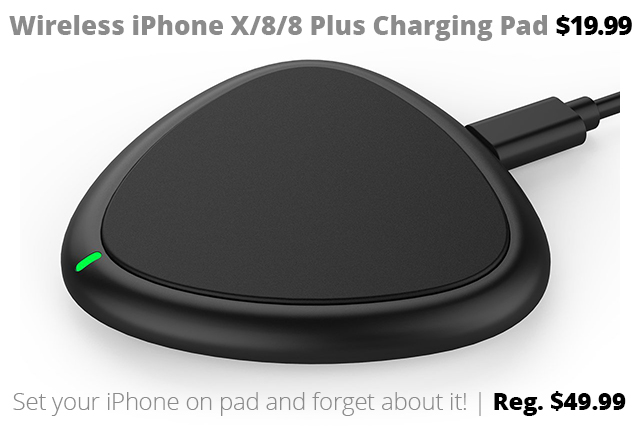 wireless iPhone charging pad DOTW Deal of the Week wireless iPhone charger Qi Android Google Pixel Samsung iPhone X iPhone 8 iPhone 8 Plus