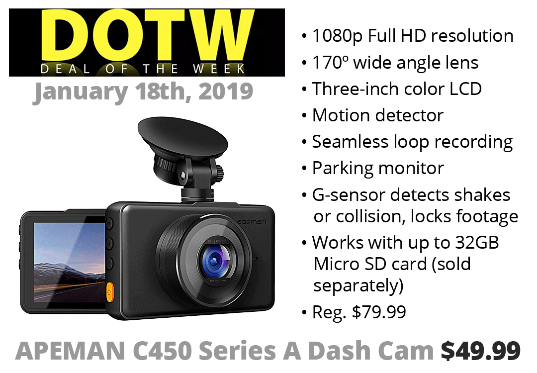 DOTW deal of the week Bolder LC40 rechargeable LED flashlight sale bargain Connecting Point Medford Oregon Rogue Valley APEMAN C450 Series A Dash Cam dashcams security automotive cameras insurance fraud prevention