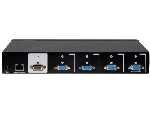 Back view of the VSC-104 a four port vga manageable splitter