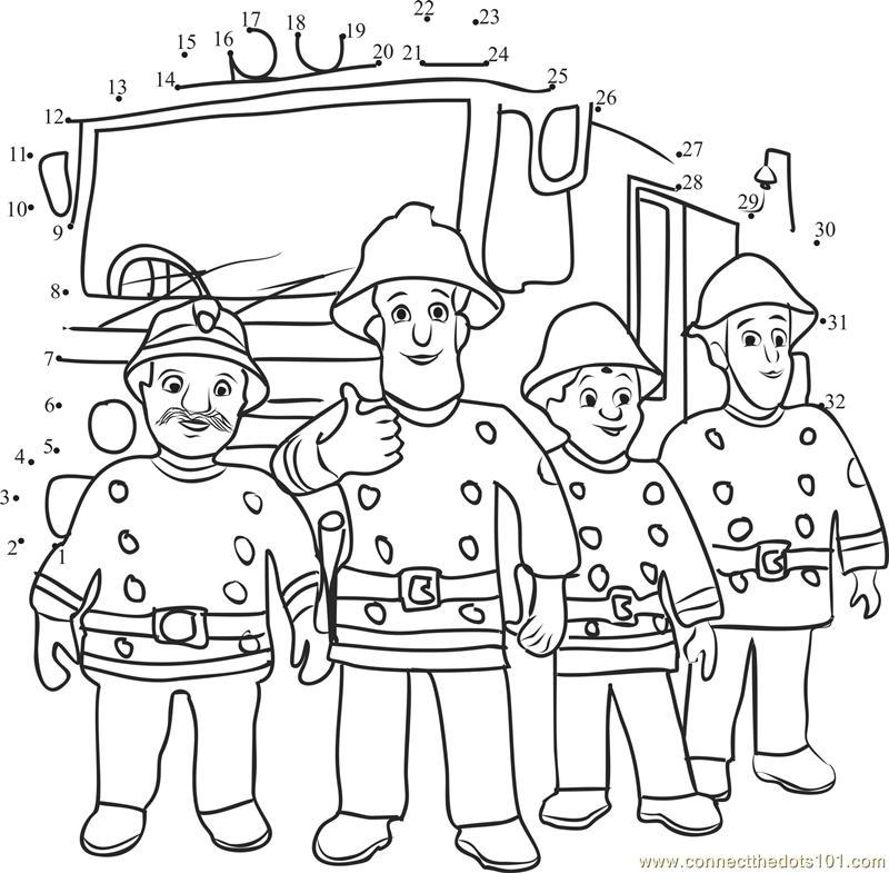 Fireman Sam and Firetruck Team dot to dot printable