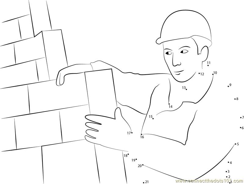 Construction Mason Worker Bricklayer Dot to Dot Printable