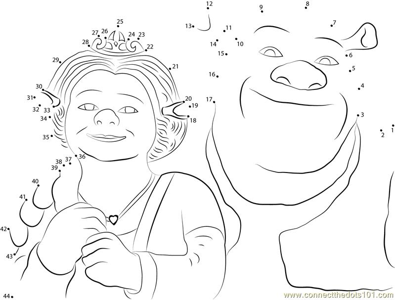 Connect the Dots Shrek and Princess Fiona (Cartoons