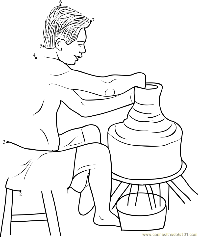 Free clay on potters wheel coloring pages