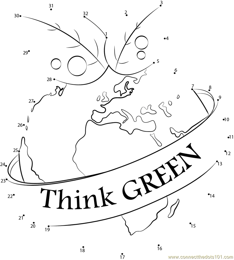 Connect the Dots Think Green (Holidays > World Environment