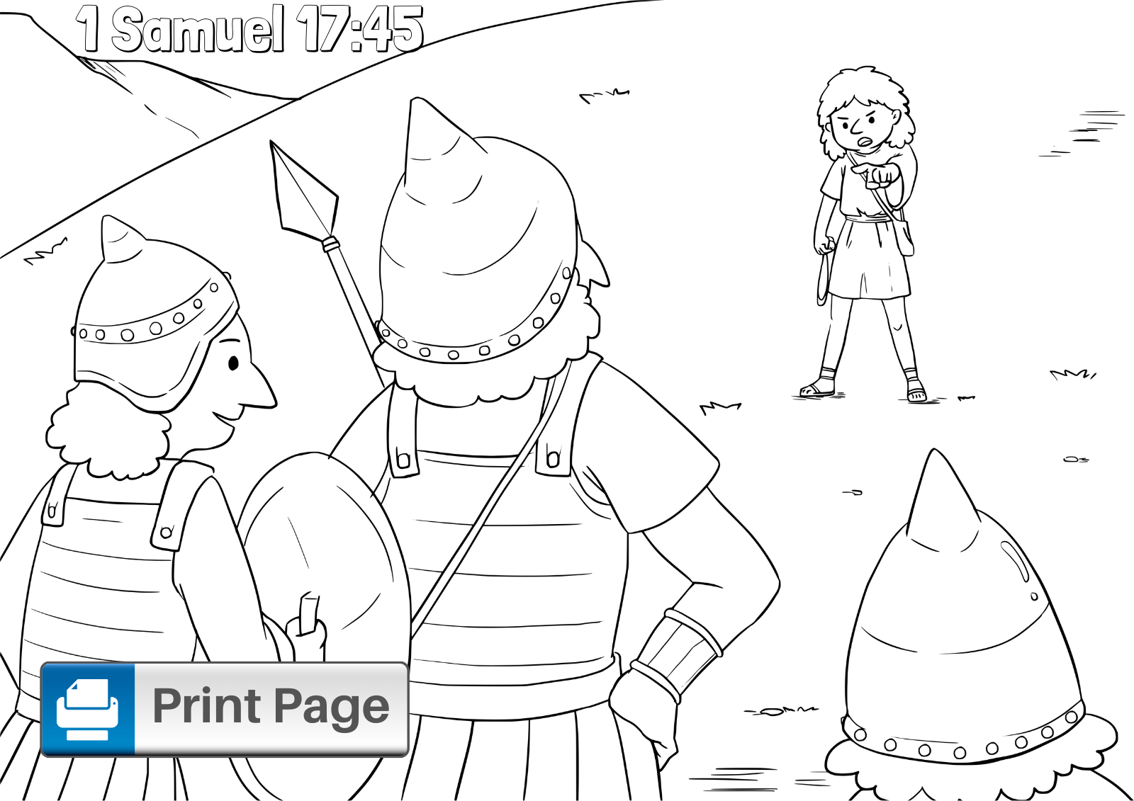 Free Printable David and Goliath Coloring Pages for Kids