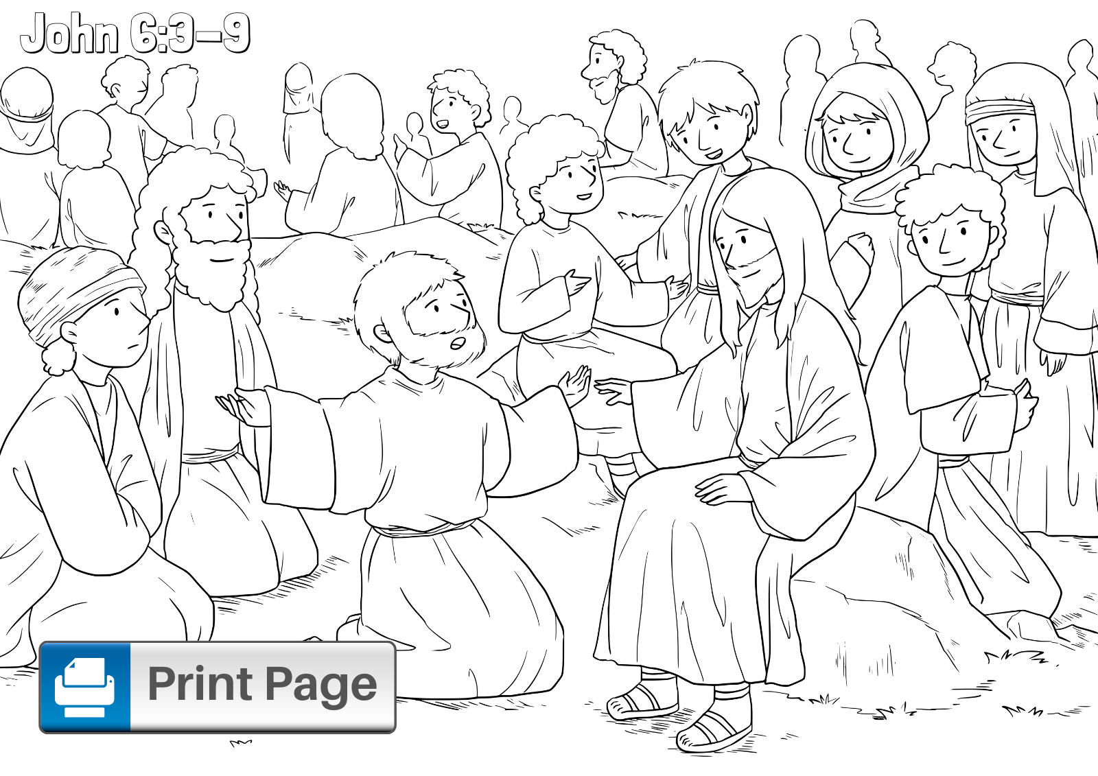 Jesus Feeds the 5000 Coloring Pages for Kids (Printable