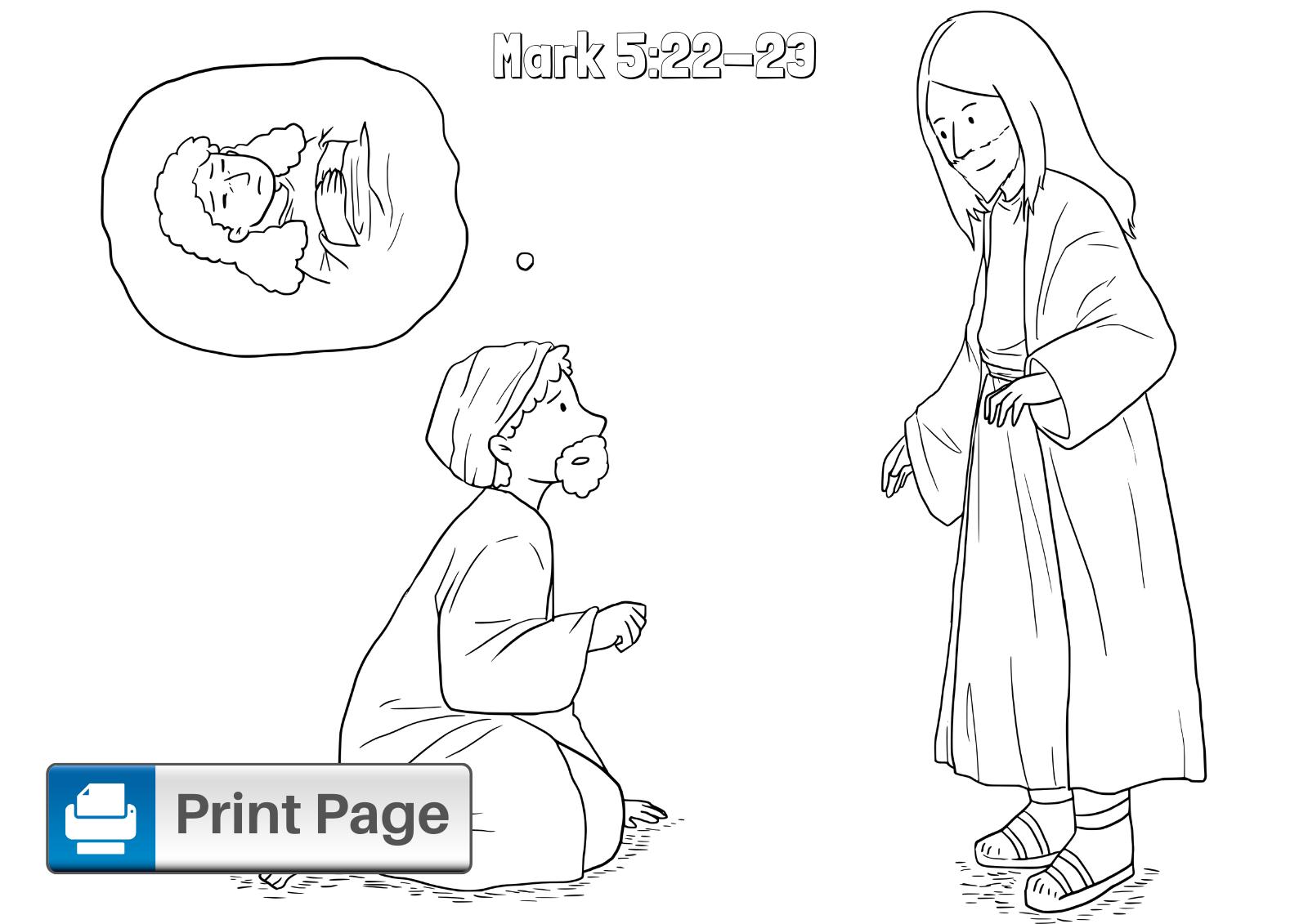 Free Jesus Heals Jairus' Daughter Coloring Pages