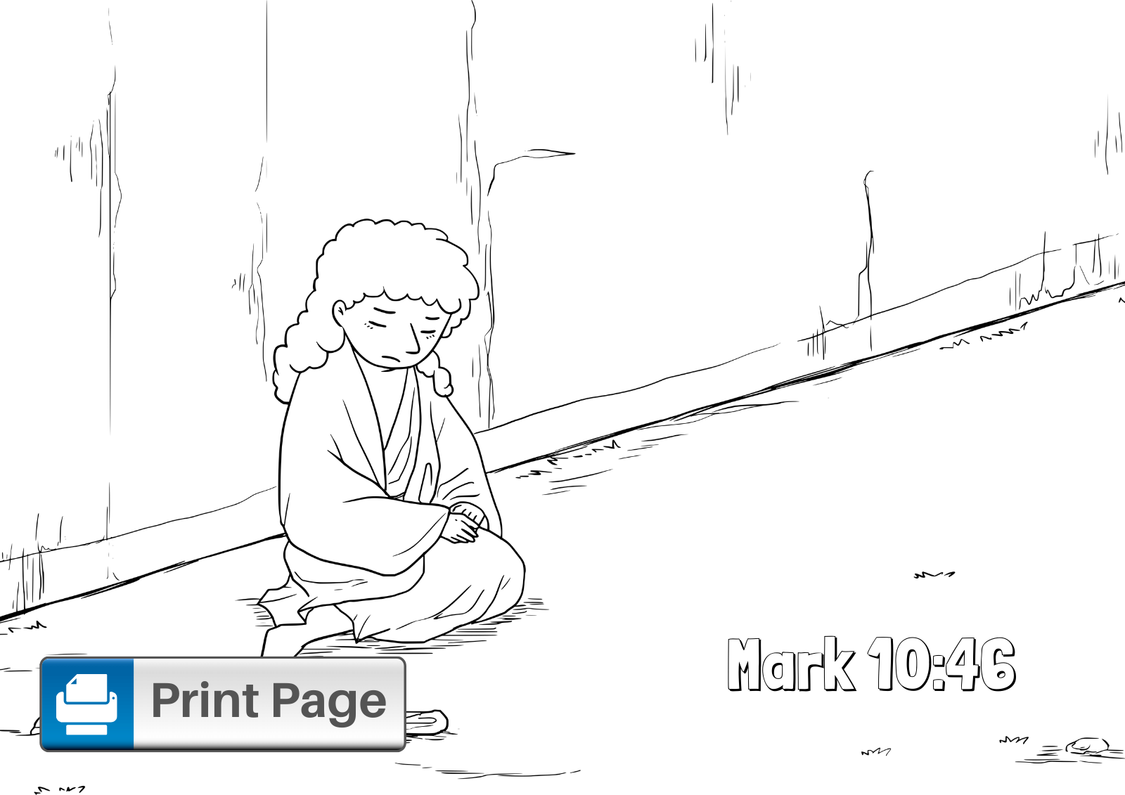 Jesus Heals the Blind Man Coloring Pages (Free Printables