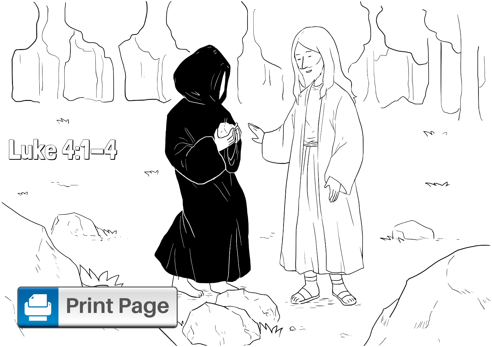 Jesus Tempted in the Desert Coloring Pages for Kids