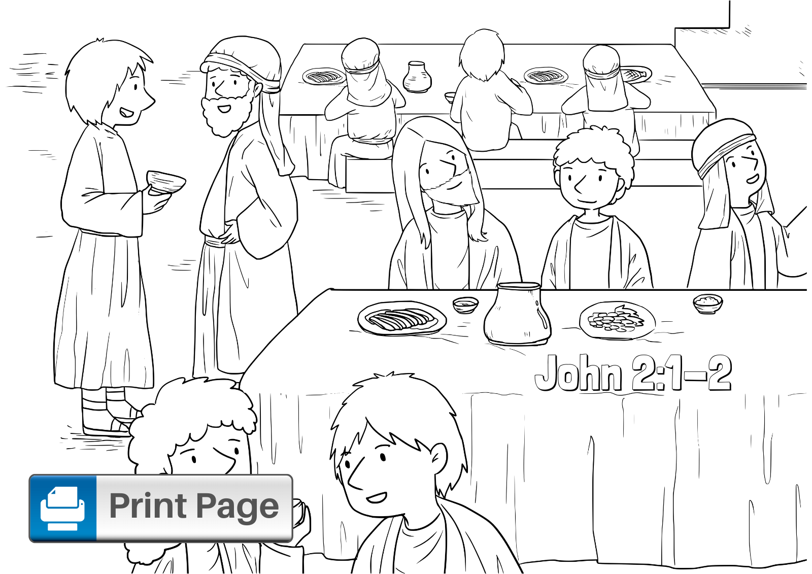 Jesus Turns Water into Wine Coloring Pages for Kids