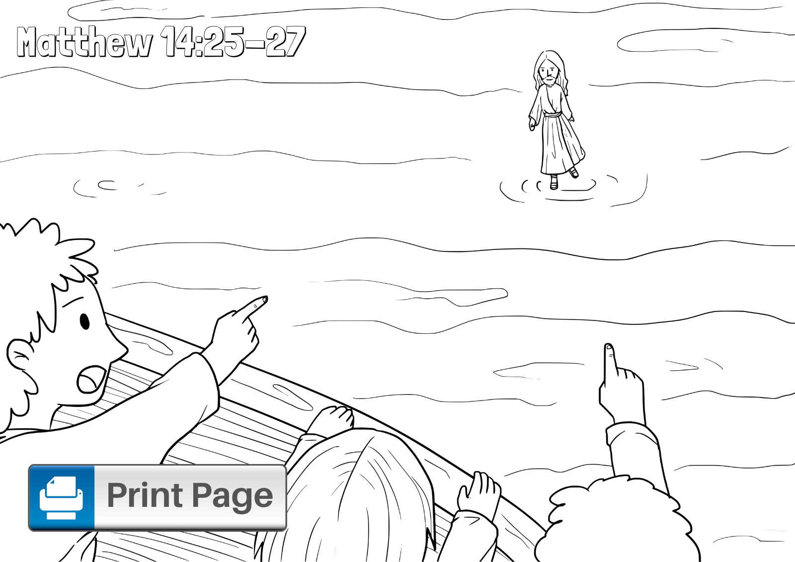 Free Jesus Walks on Water Coloring Pages for Kids
