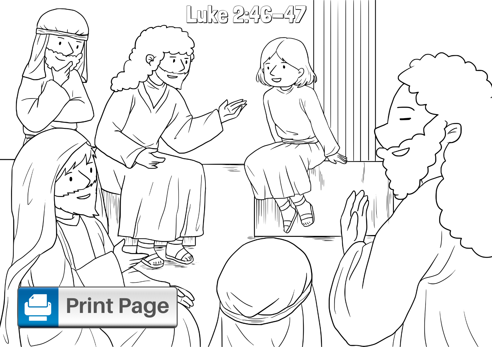 Boy Jesus in the Temple Coloring Pages for Kids