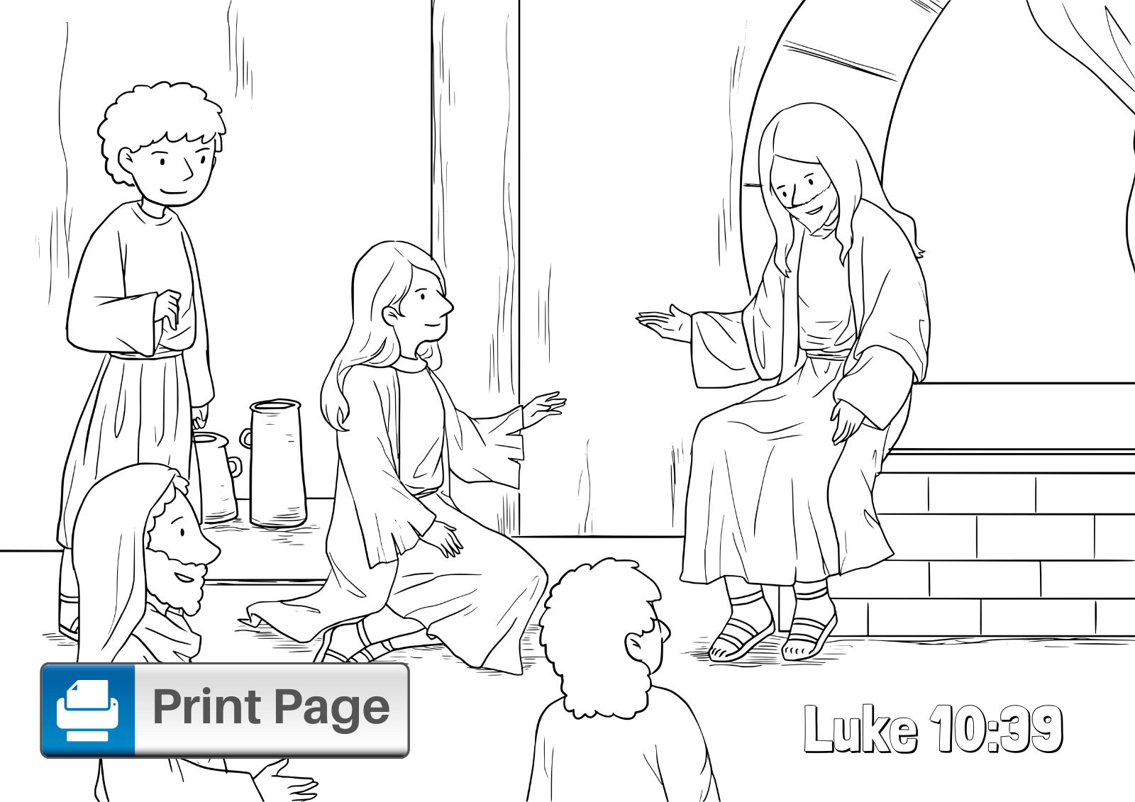 Free Printable Mary and Martha Coloring Pages for Kids