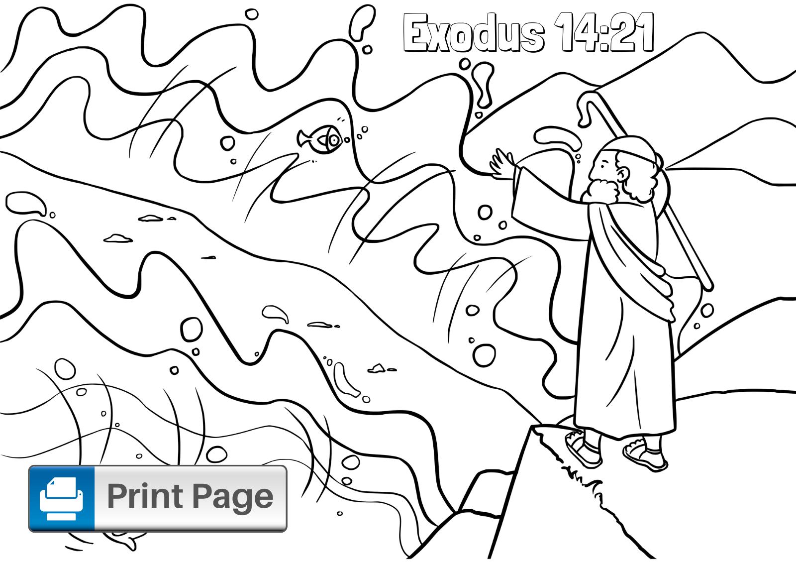 Free Moses Parting the Red Sea Coloring Pages