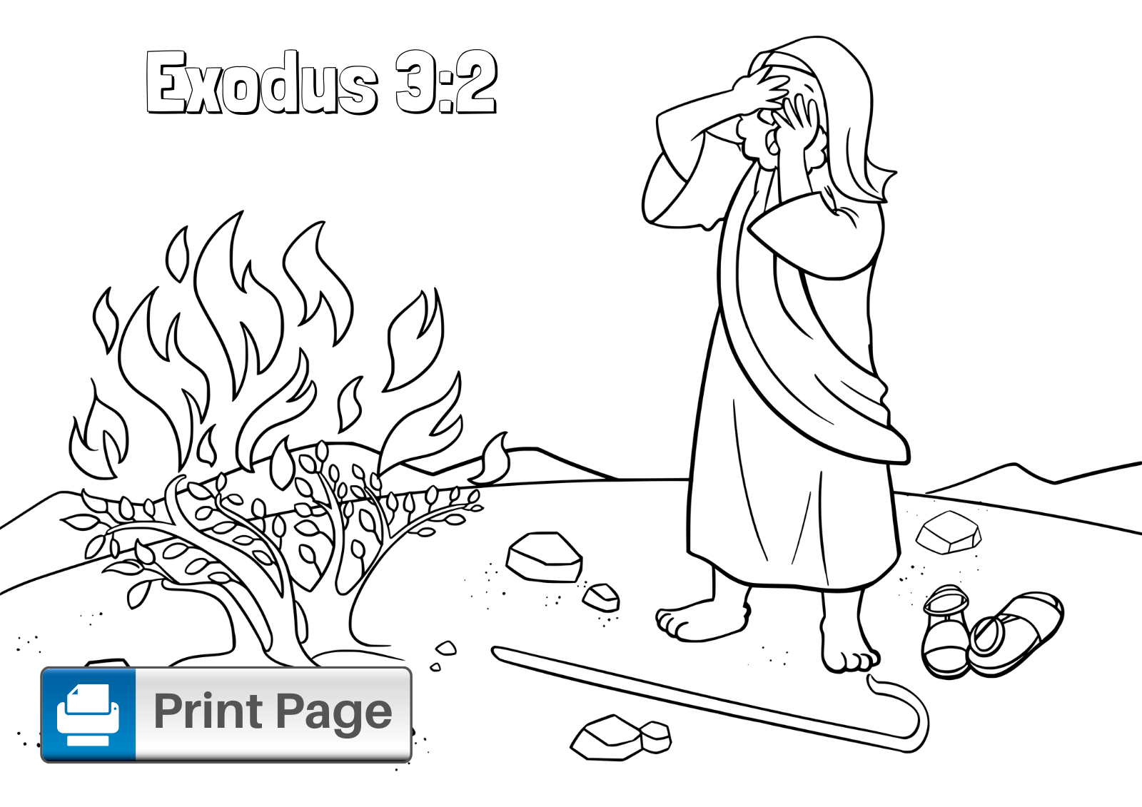 Free Moses and the Burning Bush Coloring Pages