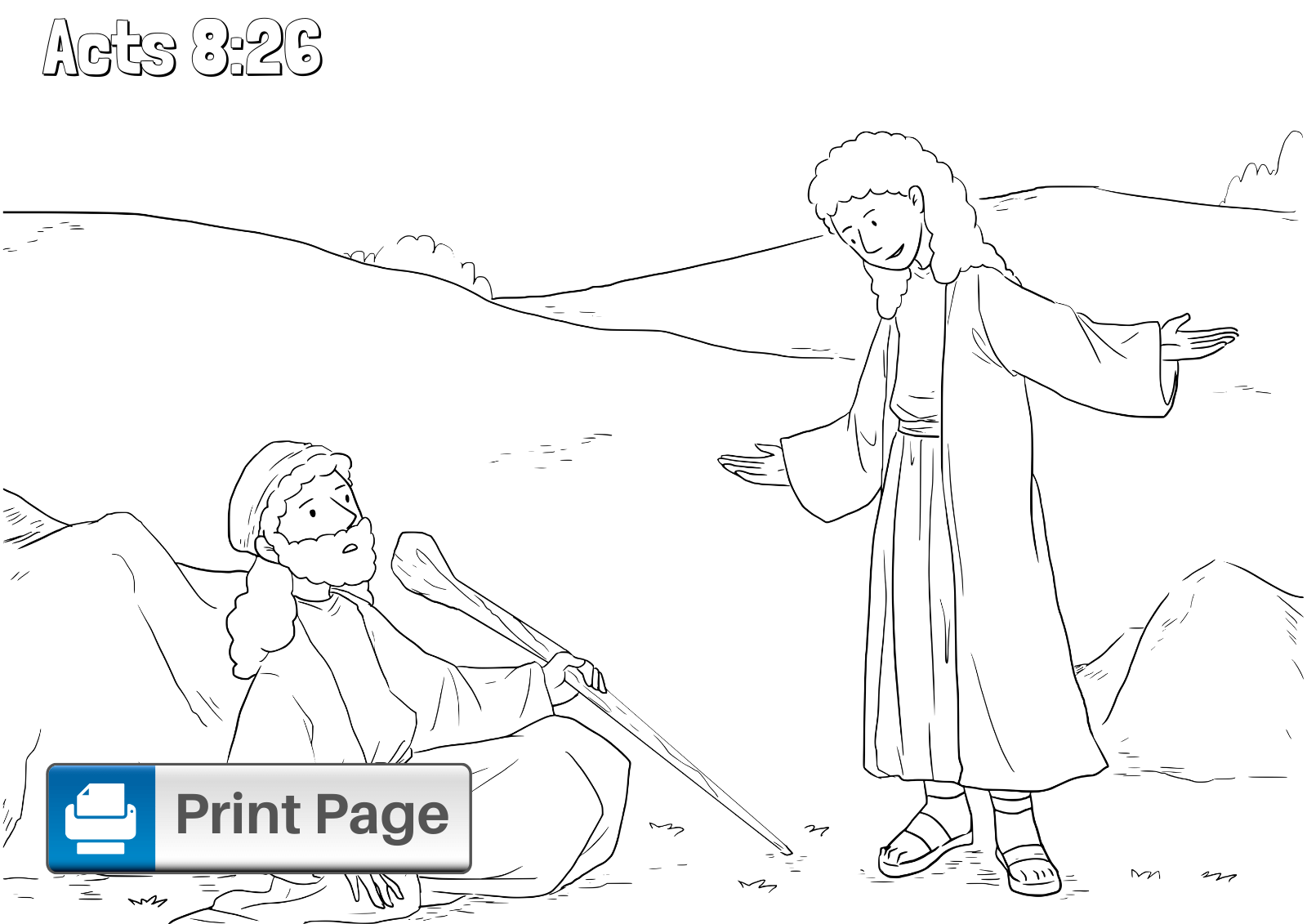 Philip and the Ethiopian Coloring Pages for Kids