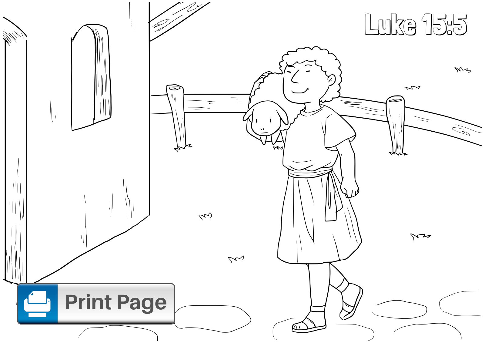 Parable of the Lost Sheep Coloring Pages (Free Printables