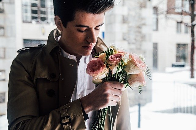 nice guy with flowers