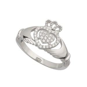 Silver Cubic Zircona Claddagh Ring by Solvar S21017
