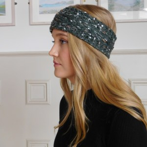 Green Speckled Fleece Lined Wool Blend Headband