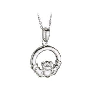 Small Silver Heavy Claddagh Pendant by Solvar S4682