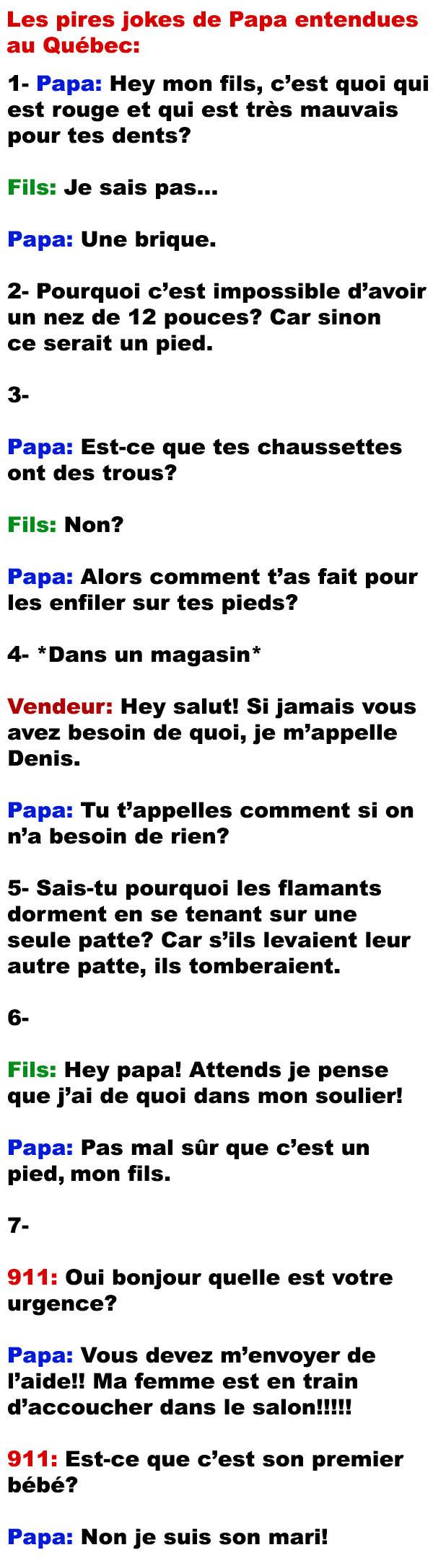 Joke De Papa Liste Blague : liste, blague, Pires, Jokes, Entendues, Québec