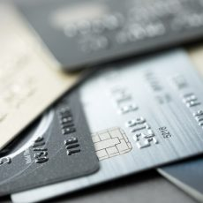 Close up of credit cards forming background