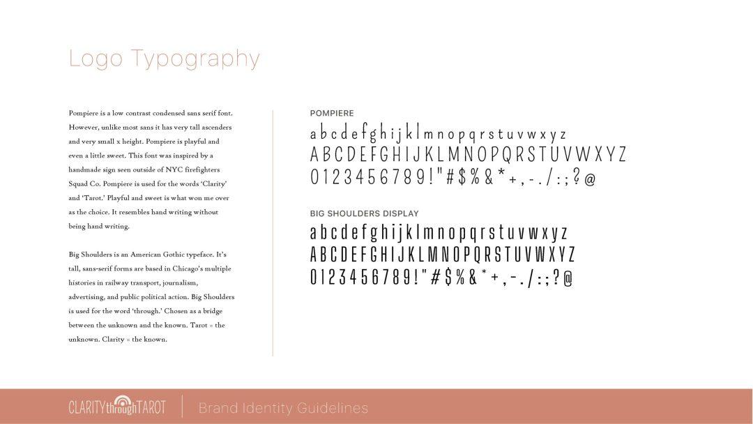 Clarity Through Tarot Brand Identity Fonts