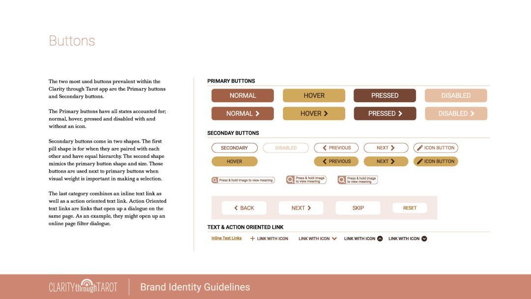 Clarity Through Tarot Design System Buttons