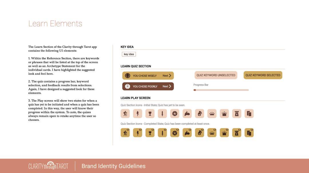 Clarity Through Tarot Design System Learn Elements