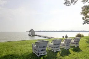 Private boathouse with view of Chesapeake Bay in Harwood Maryland