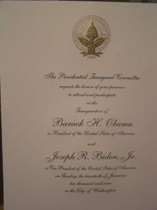 Invitation to President Obama inauguration