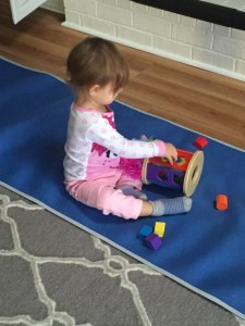 Practicing shapes is a great early math skill for toddlers.