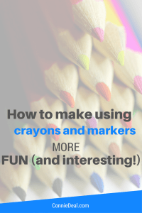 How to make using crayons and markers more fun. Toddler art and preschooler art activities that you can do at home. Low prep art activities for toddlers and preschoolers.