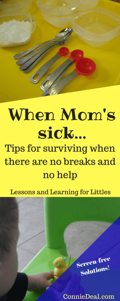 A sick day for mom? Mom's sick day? That usually doesn't happen, so try these easy toddler activities. They're also great activities for preschoolers during pregnancy or when Mom is sick but still has to manage her little ones.