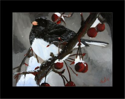2014-01-27 Portrait (Animal) - 'Junco with Berries' (Acrylics)