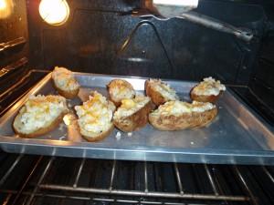 Filled potato shells