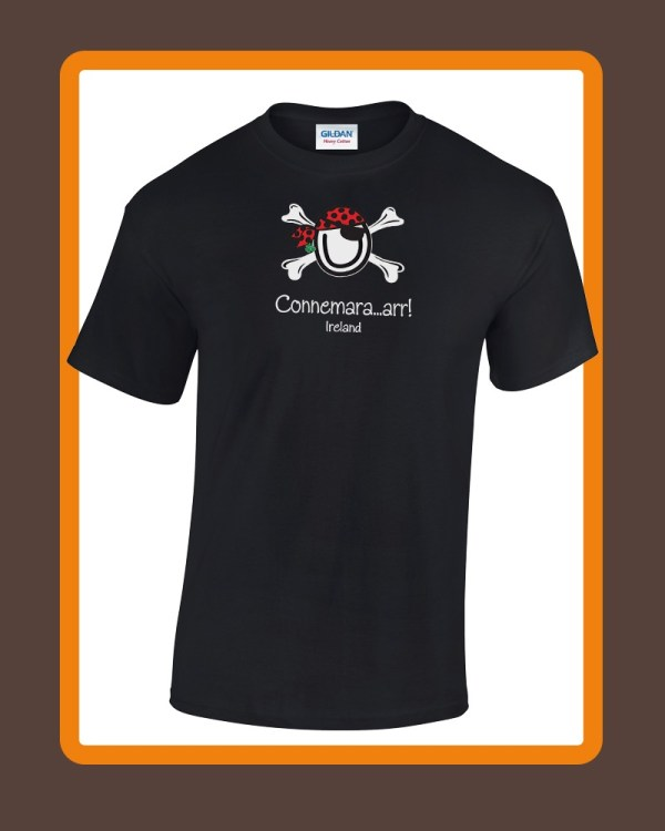 Mens connemara T-shirts by Conn O'Mara | T-shirts, clothing for men of Connemara | Mens tee shirt from the Back with Conn O'Mara Logo at top.