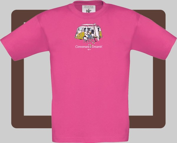 Our kids connemara fuschia t-shirts are bright and fun for kids of all ages | T-shirts from Conn O'Mara for Connemara kids.