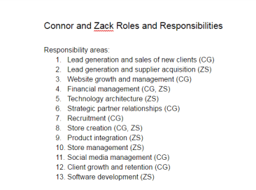 Connor and Zack Roles and Responsibilities